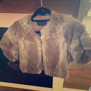 BCBG MaxAzaria Short Sleeve Fur Shawl